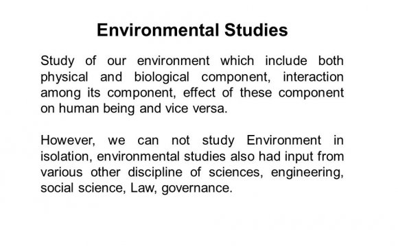 Environmental Studies Study of